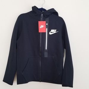 NWOT Nike Boys Tech Fleece Zip-up Hoodie Black S